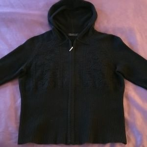 Grey\black100% cashmere embroidered hoody